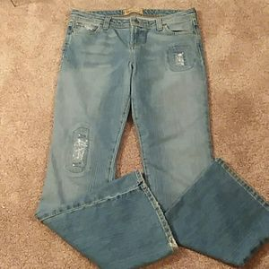 lei distressed flare jeans
